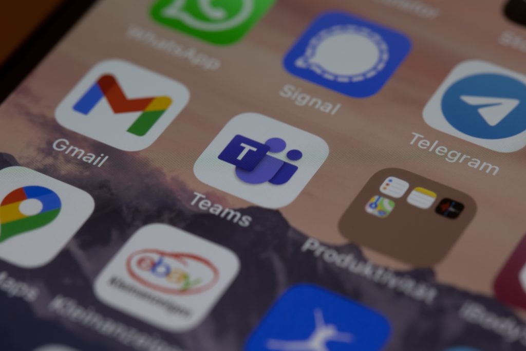 Pictured: The Microsoft Teams icon on the menu of an iPhone. Other apps, like Gmail and Signal are visible around it.